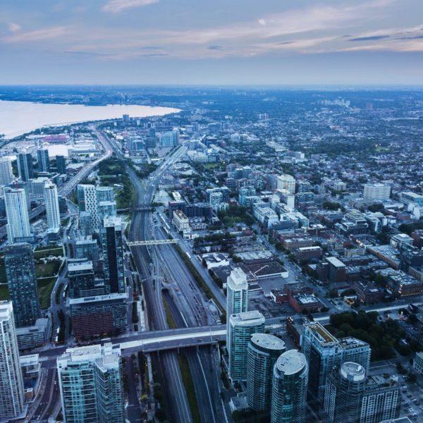 Aerial panorama of Toronto at sunset